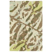 Hand-Tufted Artworks Painted Light Brown Rug - 5' x 7'9