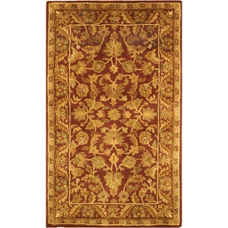 Safavieh Handmade Exquisite Wine/ Gold Wool Rug (3' x 5')