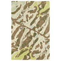 Hand-Tufted Artworks Painted Light Brown Rug - 2' x 3'