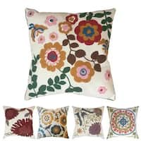 Hand-Embroidered Floral Accent Pillow