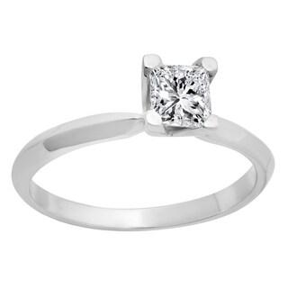 14k White Gold 1/2ct TDW Princess-cut Diamond Bridal Solitaire Ring (L-M, I1-I2)