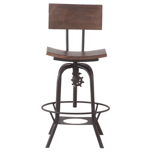 Wood 18 Inch Wide Adjustable Height Bar Stool With Backrest