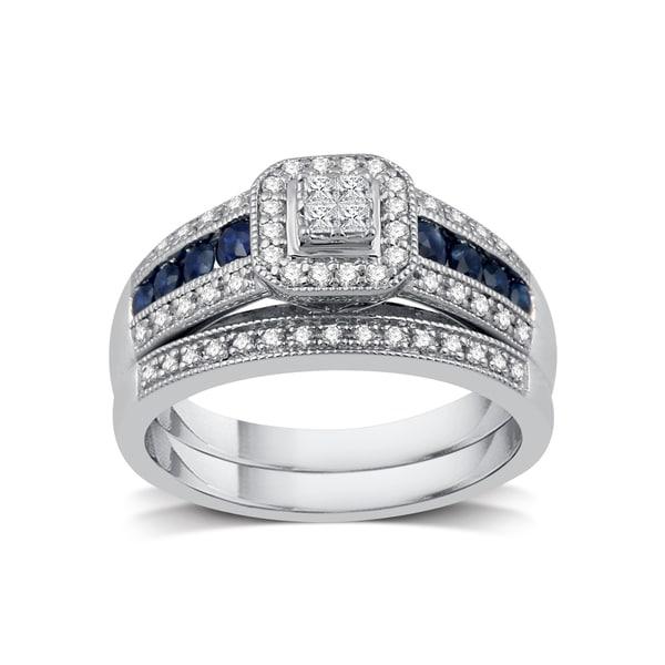 1/3 ct. TDW Diamond Engagement Bridal Set in Platinaire - White I-J