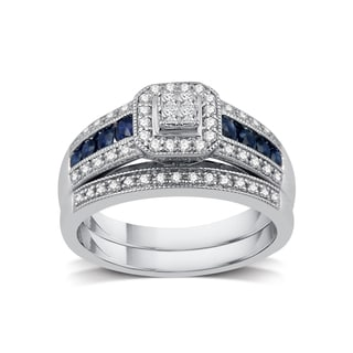 1/3 ct. TDW Diamond Engagement Bridal Set in Platinaire (I-J/I2)