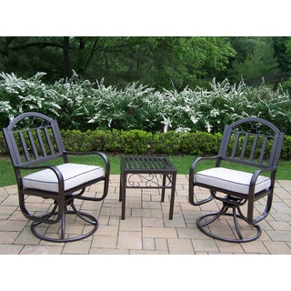 Set with 2 Oatmeal Cushioned Swivel Chairs and End Table
