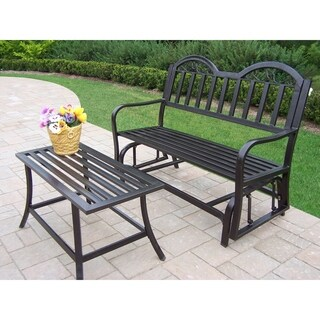 Oakland Living Corporation Brown Iron Glider and Coffee Table Patio Set
