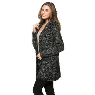 High Secret Women's Black Hooded Peppered Fluffy Long Sleeves Open Front Cardigan