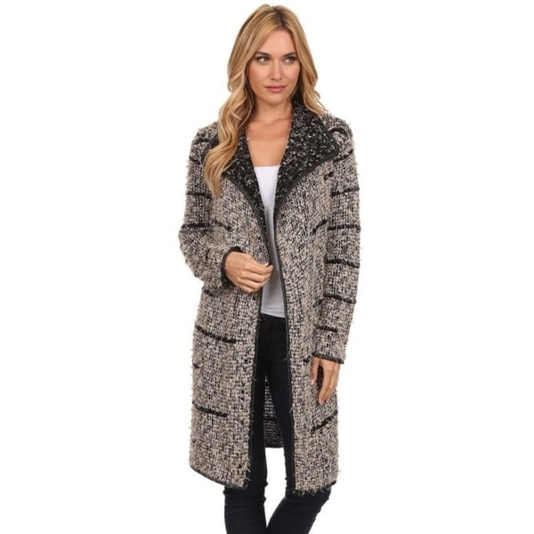 3a90eb7aad6 High Secret Women  x27 s Embellished Peppered Long Knit Open-front Cardigan