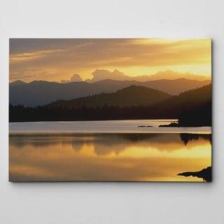 Sunset At Rainbow Lake Canvas Wall Art