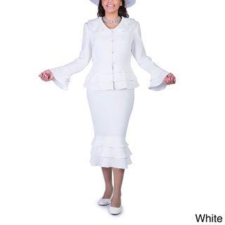 Ella Belle Women's Brocade Tierred-detail 2-piece Skirt Suit