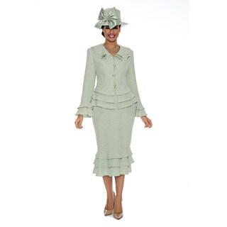 Ella Belle Women's Brocade Tierred-detail 2-piece Skirt Suit (Option: 12)