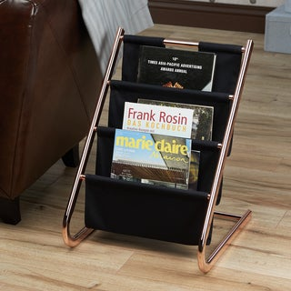 Furniture of America Cara Contemporary 3-tier Rose Gold Magazine Rack