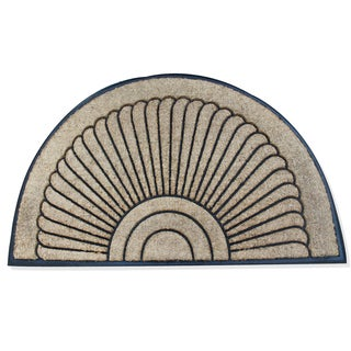 A1HC- First Impressions Sunburst Half Moon Tapered Edge Rubber/ Coir Double Doormat (2'6 x 4')