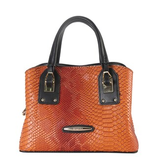 Diophy Snake-skin Pattern Multi-spaced Top-handle Satchel Handbag with Removable Strap