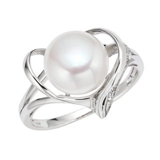 Pearlyta Sterling Silver Heart and Cubic Zirconia Ring with Pearl Center (7 - 8mm)