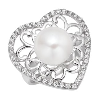 Pearlyta Sterling Silver Cubic Zirconia and Pearl Heart Ring (7 - 8mm)