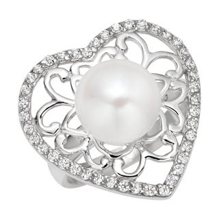 Pearlyta Sterling Silver Cubic Zirconia and Pearl Heart Ring (7 - 8mm) - White
