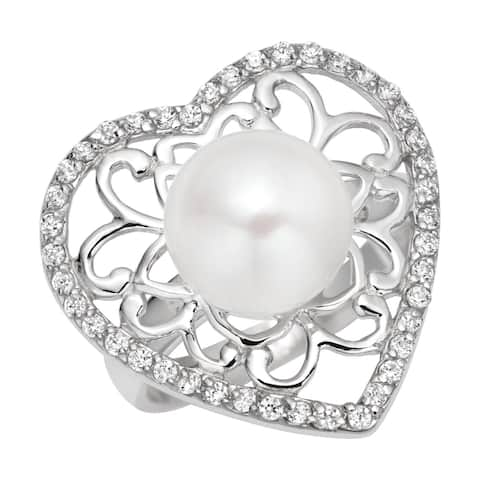 Valentine's Gift ! Pearlyta Sterling Silver Cubic Zirconia and Pearl Heart Ring (7 - 8mm) - White