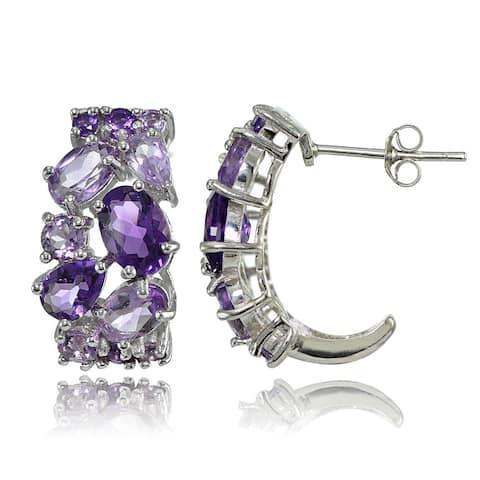 Glitzy Rocks Sterling Silver African Amethyst and Amethyst Tonal Cluster Earrings - Purple