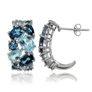 Glitzy Rocks Sterling Silver London Blue Topaz and Blue Topaz Tonal Cluster Earrings