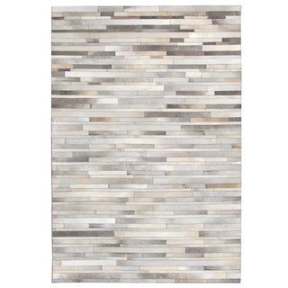 Hand-stitched Stripes Cow Hide Leather Grey Rug (9' x 12')