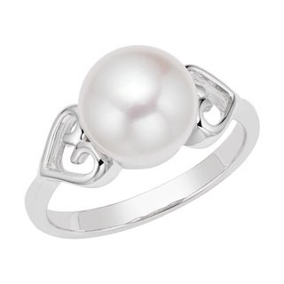 Pearlyta Sterling Silver Freshwater Pearl Double Heart Ring (7 - 8mm)