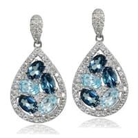 Glitzy Rocks Sterling Silver London Blue, Blue and White Topaz Teardrop Cluster Tonal Earrings