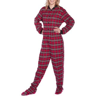 Big Feet Pajama Co. Unisex Grey Hearts Plaid Cotton Flannel Adult Footed Pajamas Extra Small Size (As Is Item)