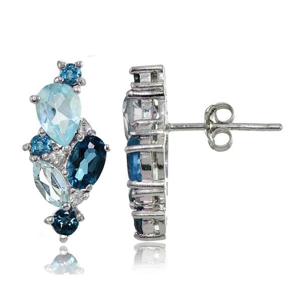 Glitzy Rocks Sterling Silver London Blue, Blue Topaz, and White Topaz Cluster Tonal Earrings