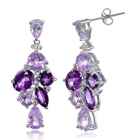 Glitzy Rocks Sterling Silver African Amethyst and White Topaz Cluster Tonal Dangle Earrings - Purple