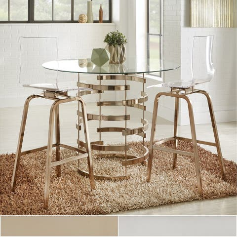 Nova Round Glass Top Vortex Iron Base 3-Piece Counter Height Dining Set by iNSPIRE Q Bold