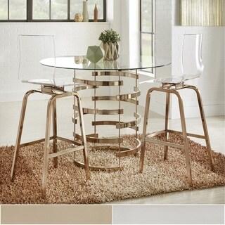 Nova Round Glass Top Vortex Iron Base 3-Piece Counter Height Dining Set by iNSPIRE Q Bold