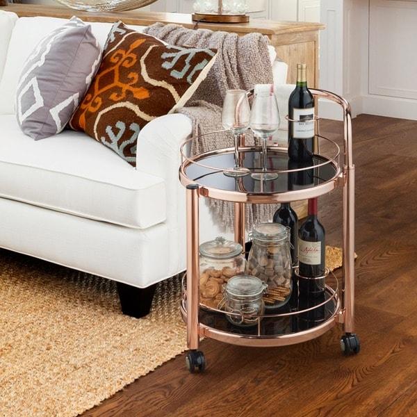 Furniture of America O'Fredericks 2-tier Rose Gold Mobile Serving Cart. Opens flyout.