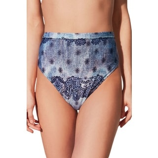 Somedays Lovin Women's Moody Moody Blue Floral Spandex High Waisted Bikini Bottom