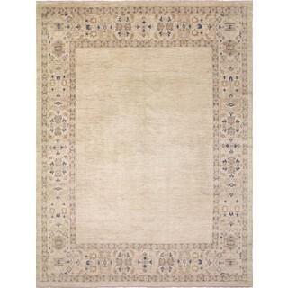 Faded Peshawar Brittane Beige, Beige Wool Rug (9'0 x 12'0)