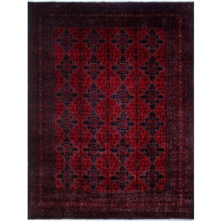 Khal Mohammadi Muqeet Red/Black Hand-knotted Rug (9'7 x 12'10)