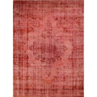 Distressed Overdyed Shafi Red/Black Wool Rug (9'11 x 13'6)