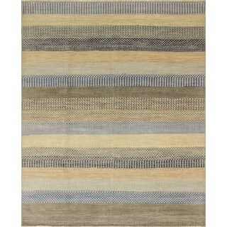 Fine Oushak Harley Beige/ Blue Hand-Knotted Area Rug (8'1 x 10')