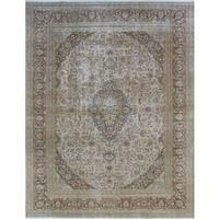 Distressed Overdyed Armaan Beige, Brown Wool Rug (9'6 x 12'6)