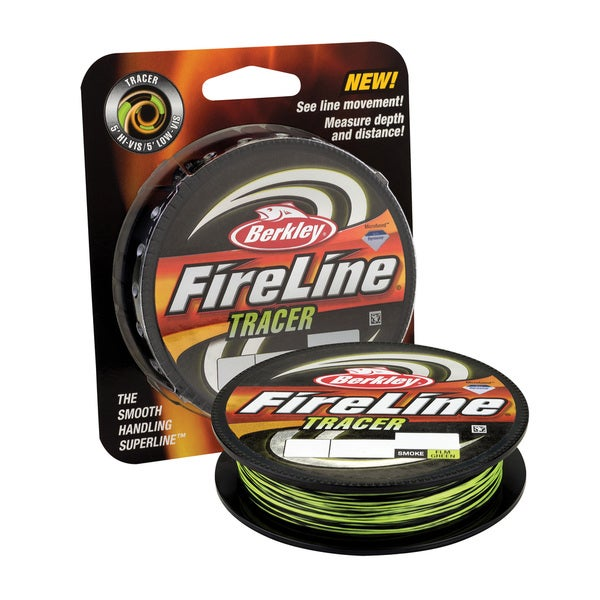 "Berkley FireLine Fused Tracer Superline Line Spool 300 Yards, 0.015"" Diameter, 30 lb Breaking Strength, Smoke/Flame Green"