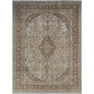 Distressed Asher Beige/Brown Wool Rug (9'6 x 12'9)