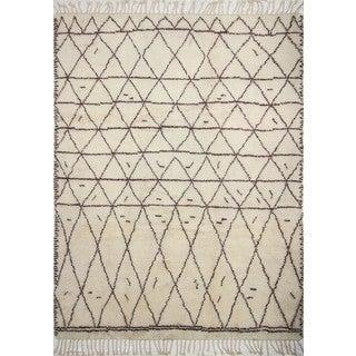 Fine Moroccan Edita Ivory/Brown Wool Area Rug (9' x 12')