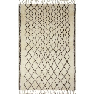 Fine Moroccan Edmund Ivory/ Brown Area Rug (10'0 x 14'0)