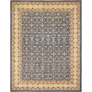 Faded Peshawar Ashly Blue, Gold Wool Rug (9'0 x 11'10)