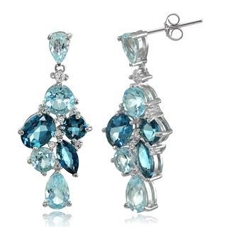 Glitzy Rocks Sterling Silver London Blue, Blue, and White Topaz Cluster Tonal Dangle Earrings