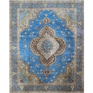Distressed Overdyed Awn Blue/ Grey Area Rug (9'6 x 12'4)