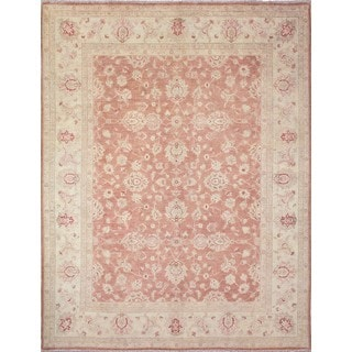 Peshawar Betül Rose/Ivory Wool Traditional Rug (9'1 x 11'9)