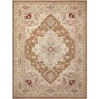 Faded Peshawar Ashlie Light Brown/Ivory Wool Hand-knotted Rug (9'0 x 11'11) - 9'0 x 11'11
