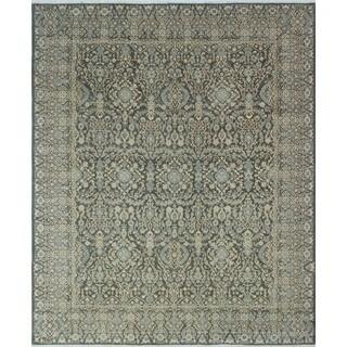 Yousafi Azeez Green/ Beige Wool Rug (8'1 x 9'10)