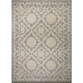 Fine Oushak Heath Grey/Ivory Wool Rug (10' x 14') - 10' x 14'